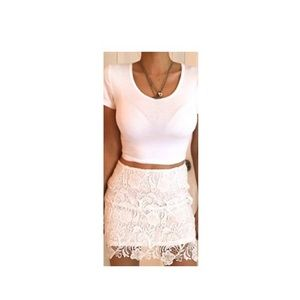 H&M White Lace Mini Skirt